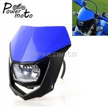 Blue Off Road Dirt Bike Enduro Supermoto Headlight Motocross Head font b Lamp b font For