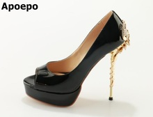 Hot Selling Women Black leather Sandals Thin and High scorpion Heels Super Sexy peep Toe Shoes