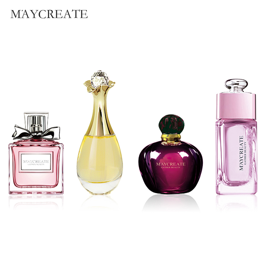 MayCreate 4Pcs Perfumed Women Female Parfums Atomizer Spay Bottle Glass Fashion Lady Flower Original Perfumed Brand Fragrances