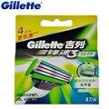 Оригинал Gillette Mach 3 Чувствительный Бритья Лезвия Бренд Mach3 Для Мужчин Борода Бритья Лезвия 4 Шт./упак.