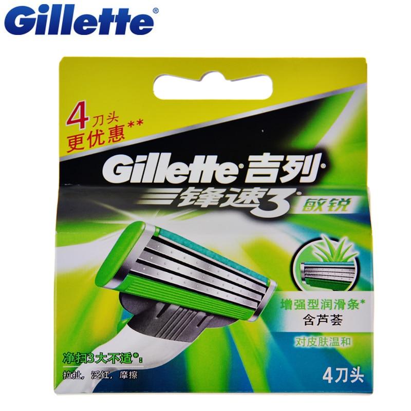 Original Gillette Mach 3 Sensitive Shaving Razor Blades Brand Mach3 For Men Beard Shave Blade 4Pcs