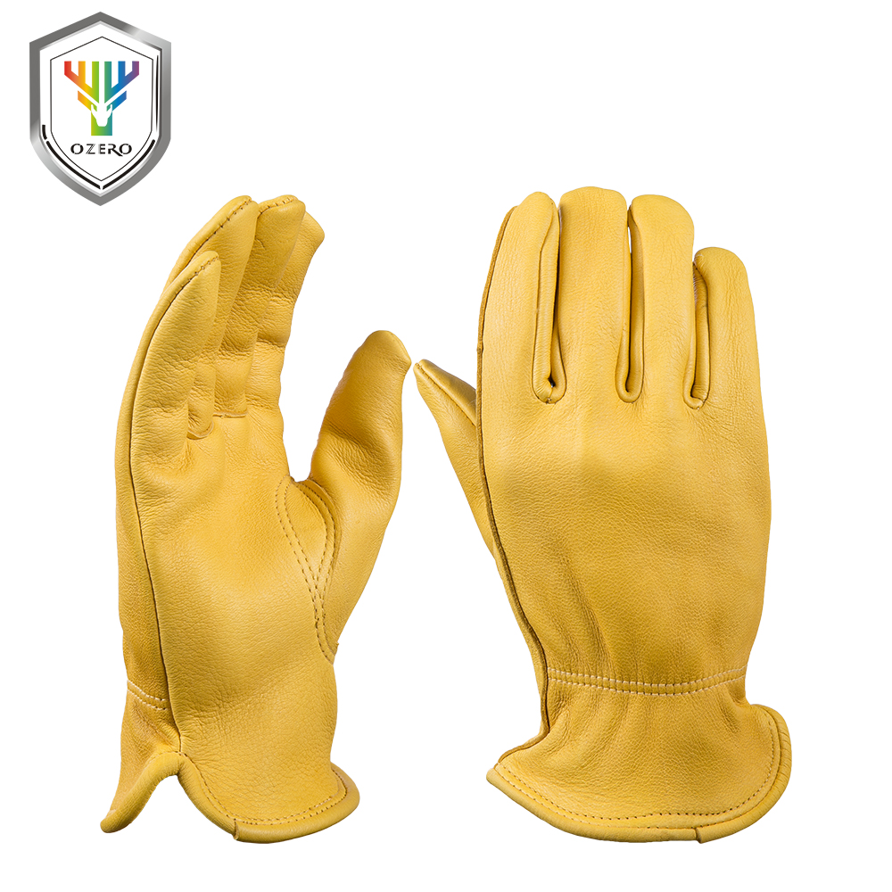 OZERO New Men's Work Gloves Deerskin Leather Security Protection Safety Workers Working Welding Warm Gloves For Men 8002