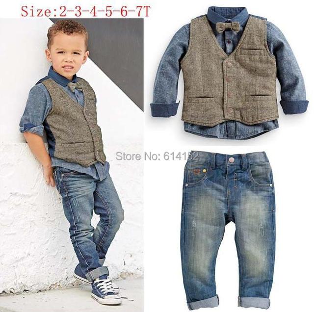 112b3fad5 2015 Spring Kids Boys Clothes( Boys Shirts+Vest+Jeans Denim+Tie ...
