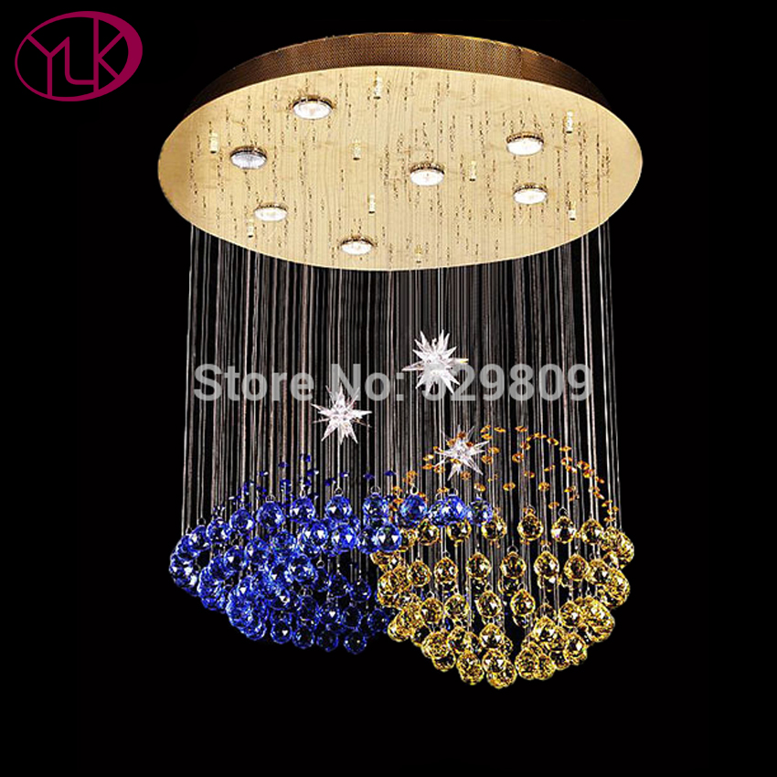 Free Shipping Luxury Modern Blue Crystal Chandelier Dia60*h80cm Real Gold Lustres De Cristal Led Lamp For Living Room dia 2th album yolo blue dia ver release date 2017 04 27