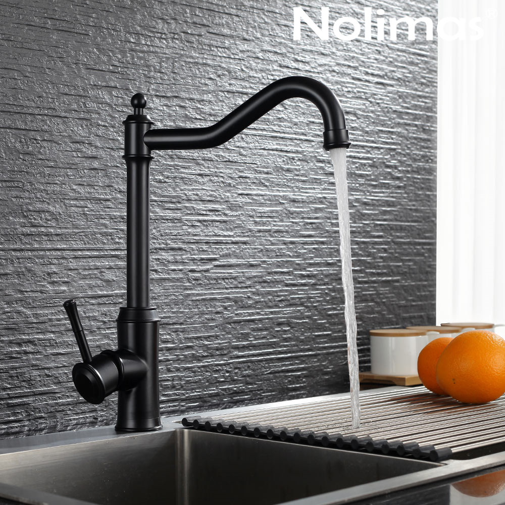 Kitchen Faucet SUS 304 stainless steel Deck Mounted Faucets Black paint Spool Mixer Water Faucet Hot And Cold Double Control Tap kitchen tap sus 304 stainless steel faucets beige paint spool mixer water faucet hot and cold double control ceramic plate spool