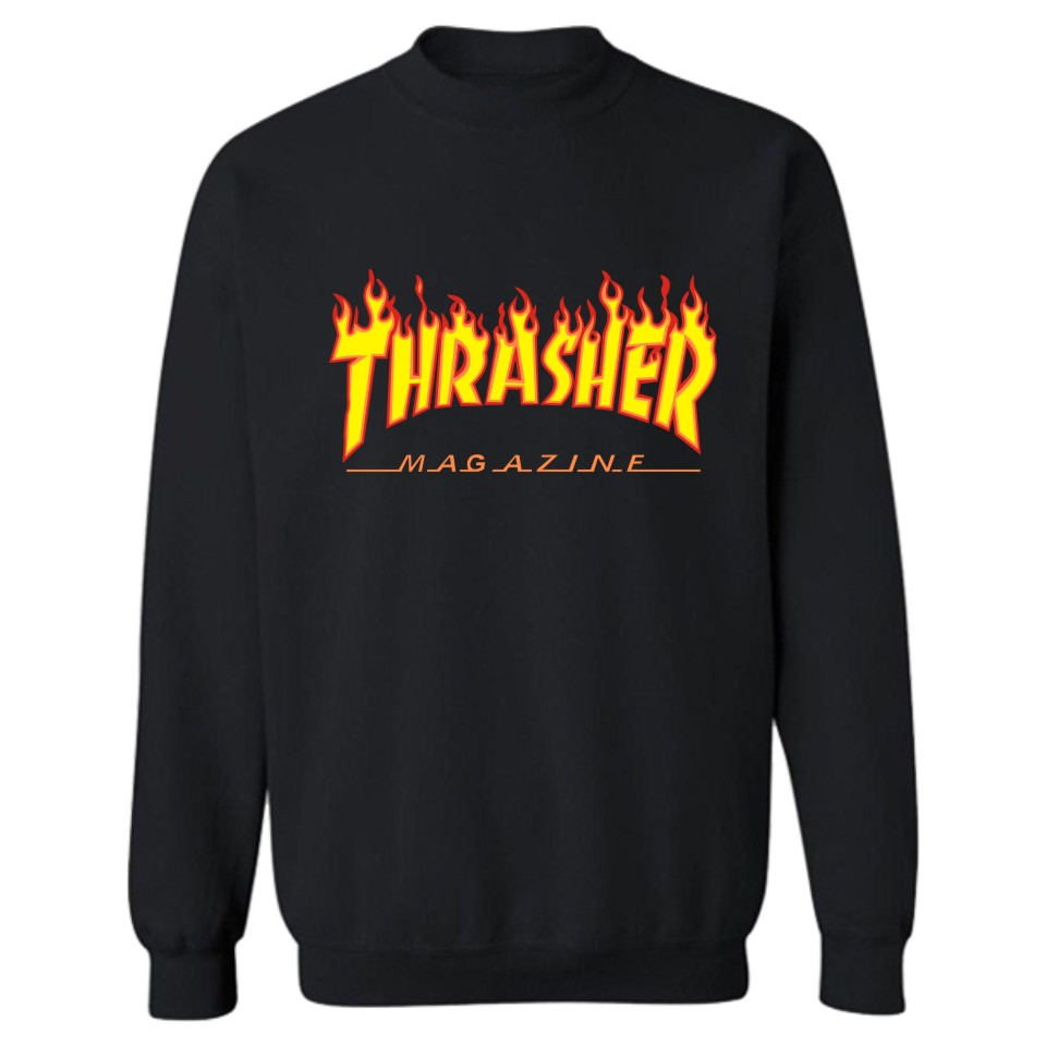 Cool Black Flame Thrasher Print Hoodies Men/Women Fashion And Hip Hop Style Cotton Luxury In Plus Size 4XL Funny Sweatshirts