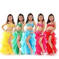 3 STÜCKE Kind Bauchtanz Kostüm Set Moderne Mädchen Ballroom Dance Kleid Spanisch Tanzkleid Orientalischen Bollywood Dance Kostüme 89