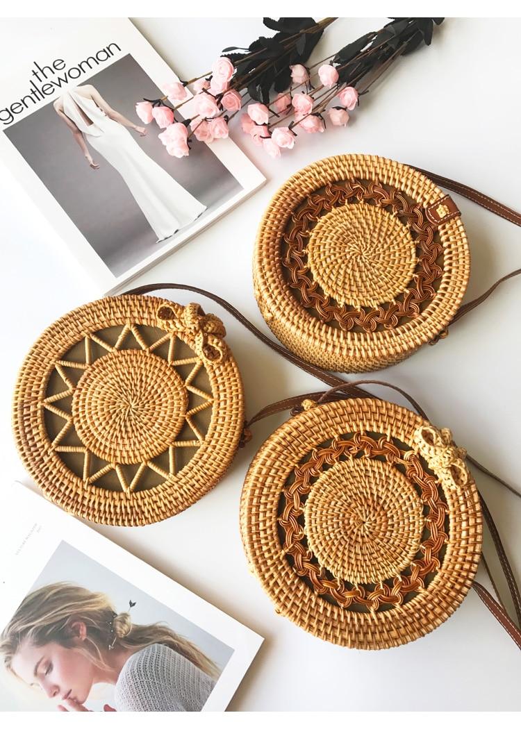 Handmade Woven Beach Handbag For Women Bag Travel Handbag Round Straw Bag Women Rattan Woven Cosmetic Bag