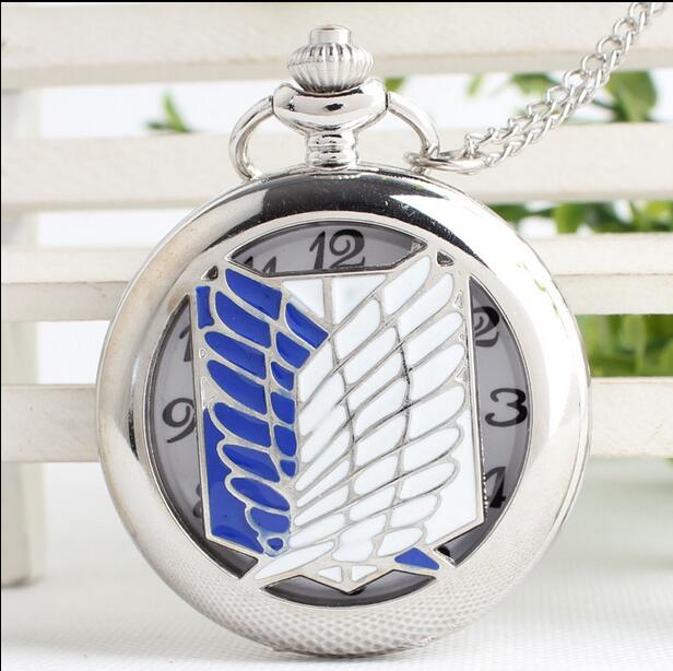 More style Freeshipping wholesale 20pc a lot Attack on Titan pocket watch Necklace Dia47mm HNGB32