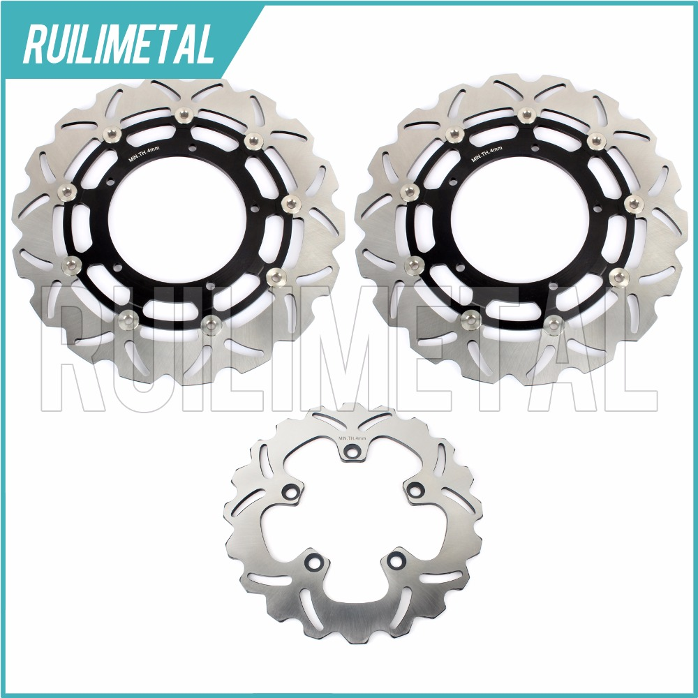 Full Set Front Rear Brake Discs Rotors For YAMAHA FZ1 1000 06-14  FZ1 ABS A 06-14 FZ1 FAZER 1000 06-12 FZ1 FAZER ABS 1000 07-12 full set 3pcs motorcycle new black gold 320mm 220mm front rear brake discs rotors rotor for yamaha yzf r1 2004 2005 2006 04 06