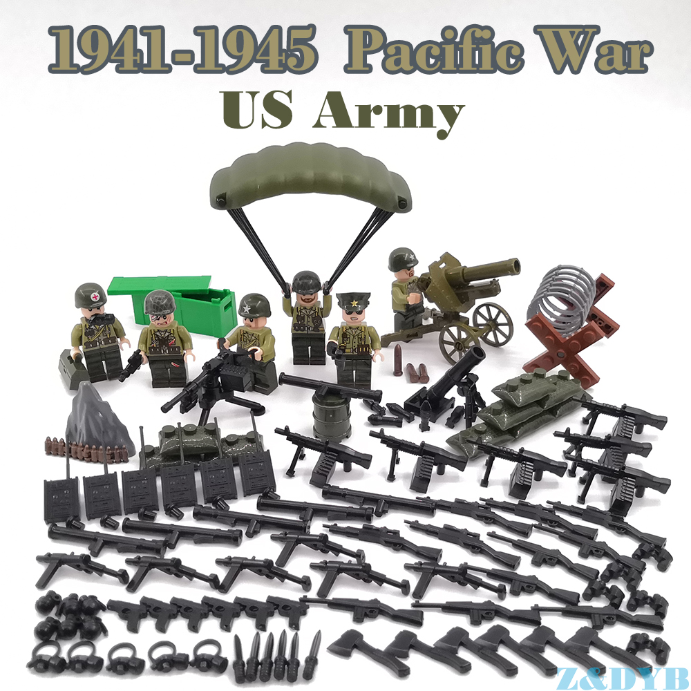 WW2 Pacific War USA Army Forces British Military Figures Sets Weapon Gun Soldier Legoed Model Building Block Brick Children Toy