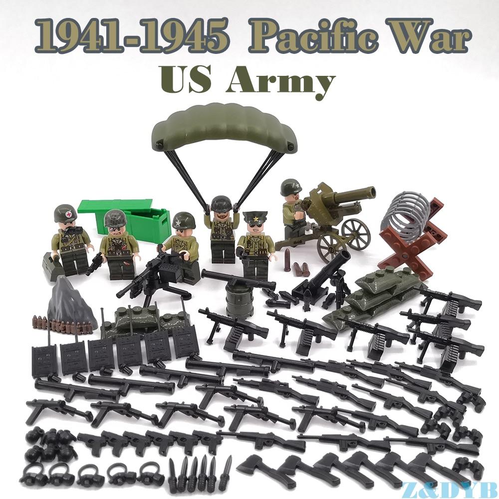 WW2 pacifique guerre USA armée Forces britanniques militaires chiffres ensembles arme pistolet soldat Legoed modèle bloc de construction brique enfants jouet