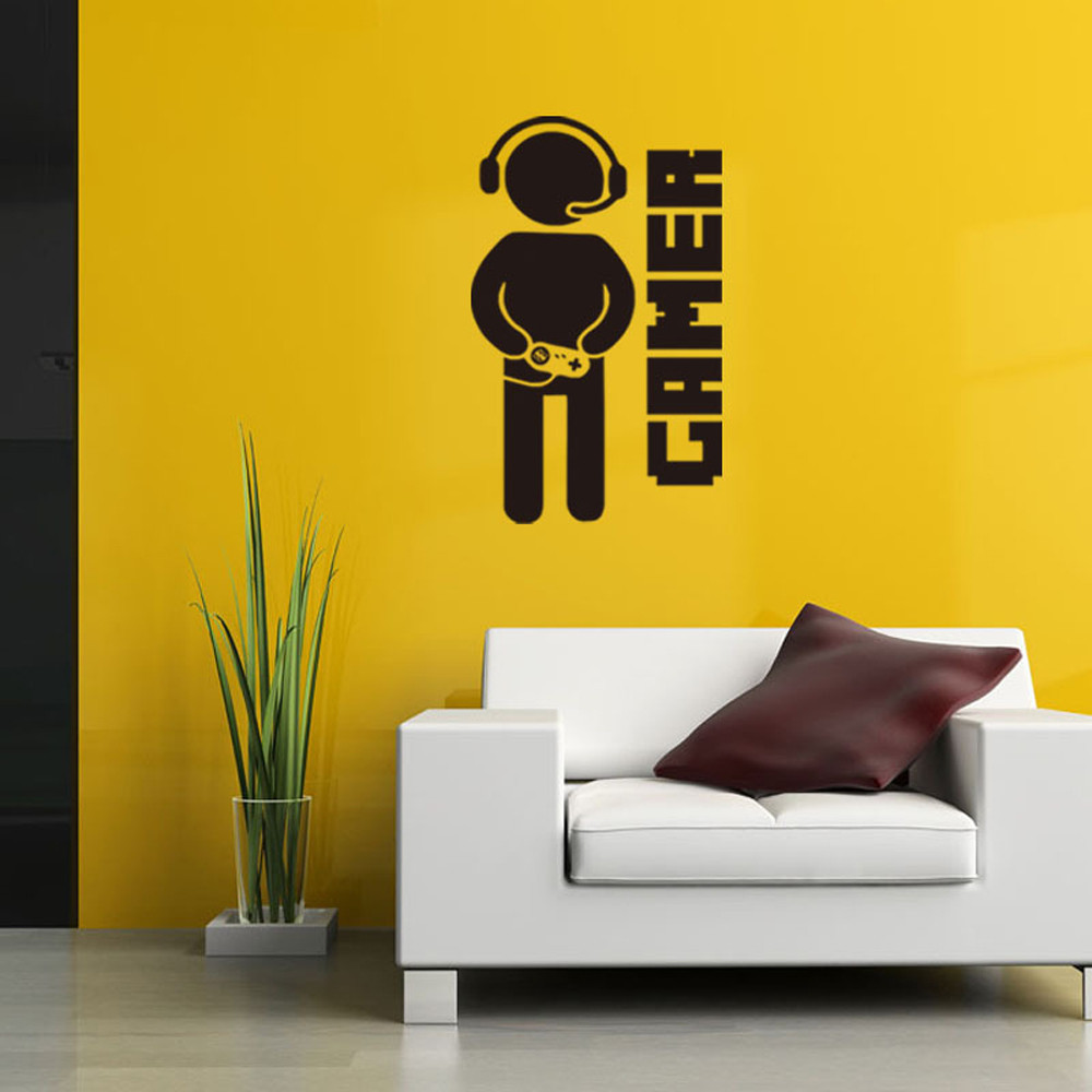 Creative Gamer Wall Stickers Art Wallpaper Controller Quote Decal ...