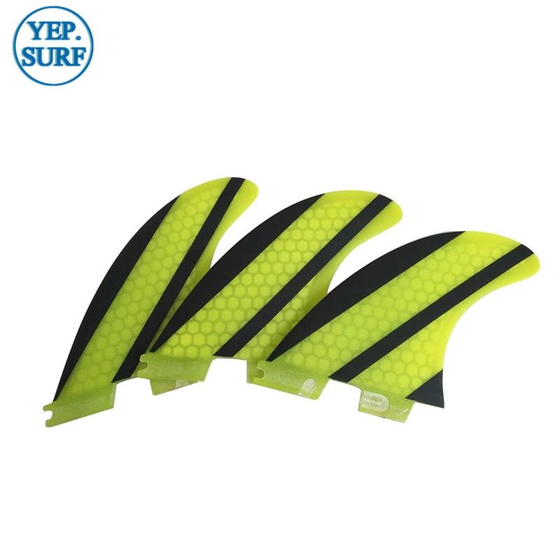 SUP Quilhas FCS Fins G5 Yellow Honeycomb Fiberglass Carbon Fiber - Ջրային մարզաձեւեր - Լուսանկար 6