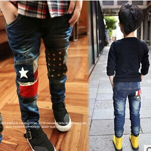 Free shipping 2015 children clothing Autumn new  boys jeans with knees patchwork design boy trousers B022