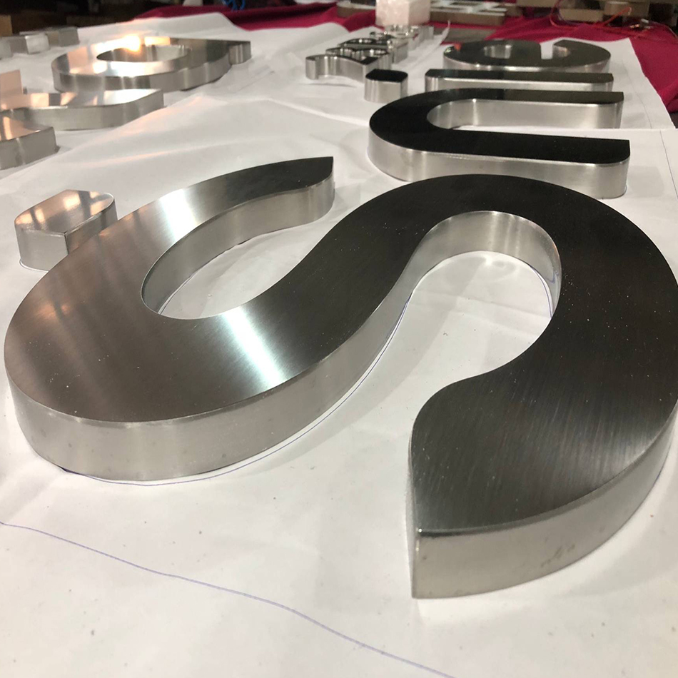 3D Brushed Finish Sign Stainless Steel Metal Letter