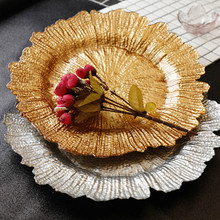 European Creative Plating Gold Snow Glass Plate Color Lace Fruit Snack Dessert Western Food Set Grocery Storage Tray