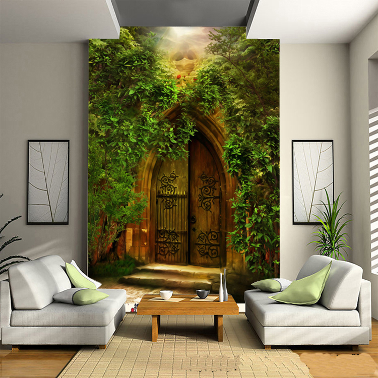 Free Shipping 3D European style forest door wallpaper sofa living room TV background wall bedroom study wallpaper mural  free shipping pine forest 3d landscape background wall living room bathroom bedroom home decoration wallpaper mural