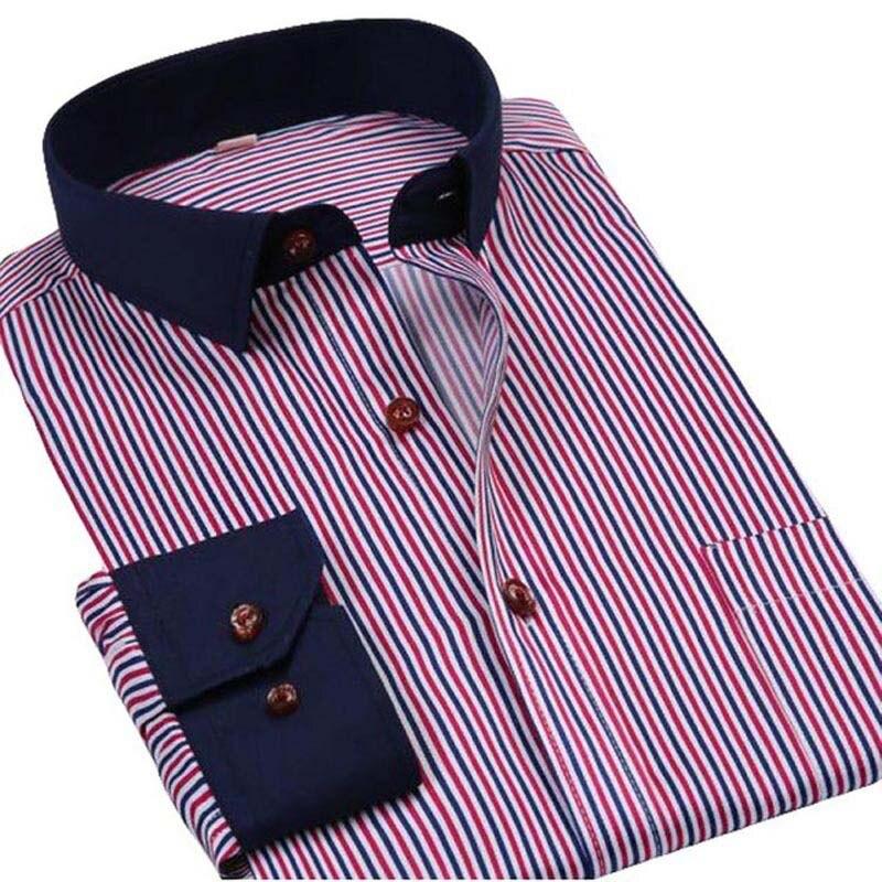 product new fashion 2017 New Fashion Dark Blue Harmonia Collar Men Casual Business Long Sleeve High Quality Men Dress Shirts Luxury