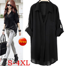 women blouses loose chiffon blouse shirt long sleeve v neck casual 4XL Femme shirts plus large size xxxxl white black Summer top(China)