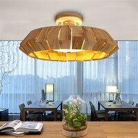 Творческий кантри Современный Лаконичный Мода древесины светодиодный потолочный светильник Cafe Спальня Гостиная украшение лампы Бесплатн