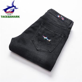 Брендовые деловые повседневные джинсовые брюки TACE & SHARK, прямые узкие джинсы, модные мужские джинсы с вышивкой флагом
