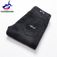 TACE&SHARK Brands Business Casual Shark Denim Pants Straight Slim Jeans Fashion Mens Flag Embroidery Jeans Trousers