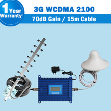 GSM 3G 2100 إشارة الداعم مكبر للصوت شاشة الكريستال السائل WCDMA 2100mhz الهاتف المحمول مكرر UMTS 70dB الخلوية مكبر للصوت + هوائي S29