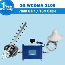 GSM 3g 2100 усилитель сигнала ЖК дисплей Дисплей WCDMA 2100мГц мобильный телефон ретранслятор UMTS 70dB Сотовая связь усилитель + антенна усилитель сигнала телефонного сигнала Band 1 WCDMA CDMA 2100mhz сигнал lintratek