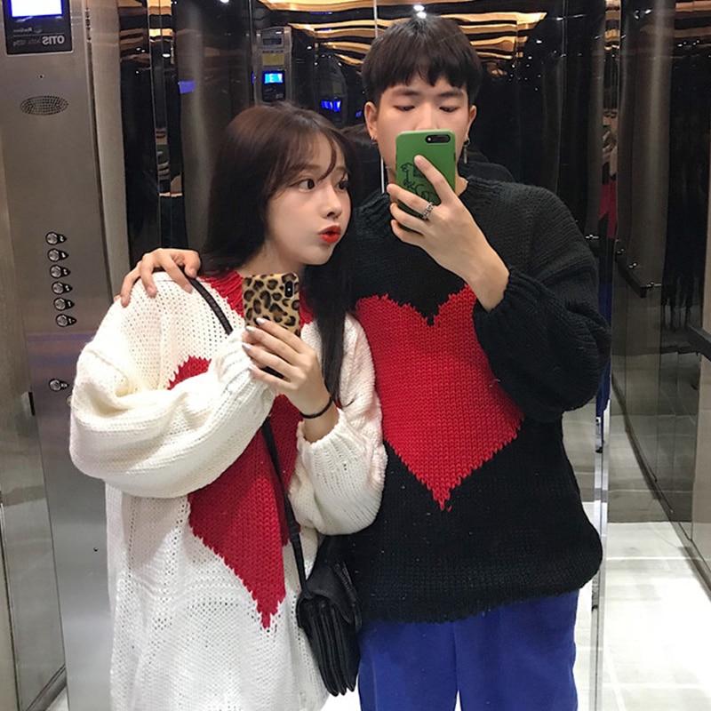 b74a190ae2 Women s Clothing Korean ulzzang Sweet Patchwork Love Panelled loose O-neck  harajuku long sleeve Fashion