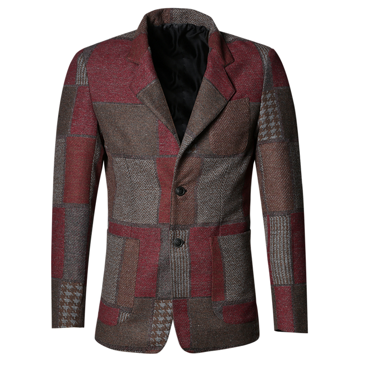 Spring Stitching Plaid Retro Red Suit For Men Casual Suit Grey Plaid Slim European Style Business Blazer Men Wedding Suit F196-5