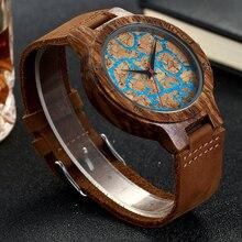 Eco-friendly Cork Wood Watch Blue Marble Wristwatch Men's Wr