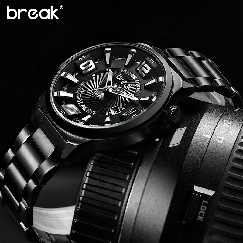 BREAK Men Top Luxury Brand Stainless Steel Band Fashion Casual Calendar Quartz Sports Wristwatches Creative Gift Dress Watches