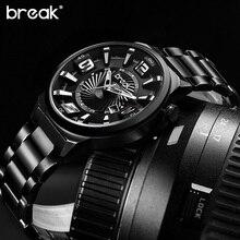 BREAK Men Top Luxury Brand Stainless Steel Band Fashion Casual Calendar Quartz Sports Wristwatches Creative Gift Dress Watches