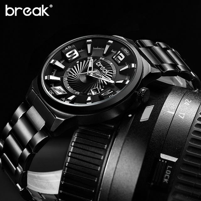 QUEBRAR Calendário Banda de Aço Inoxidável Dos Homens Top Marca de Luxo Moda Casual Esportes de Pulso de Quartzo Vestido Relógios de Presente Criativo