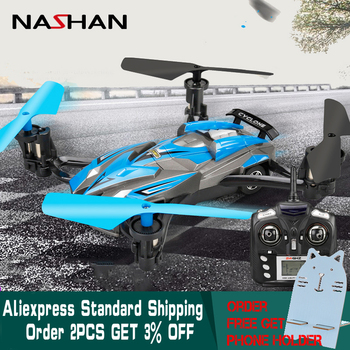 Nashan 360 Flips Air-Road RC Drone Car 2 in 1 Flying Car 2.4G RC Quadcopter Drone 6-Axis 4CH Helicopter With LED Lights for Boys