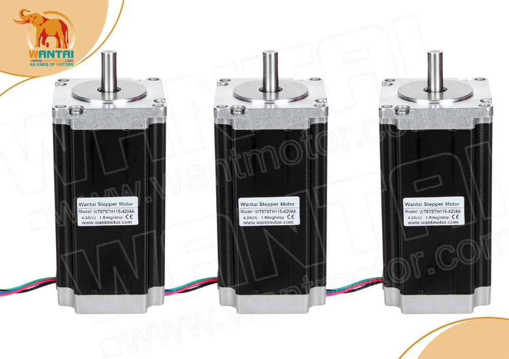 DE&EU FREE! Wantai Nema 3pcs 23 Stepper Motor WT57STH115-<font><b>4204A</b></font> 428oz-in 4.2A Medical Automation Imaging Printing Miling image