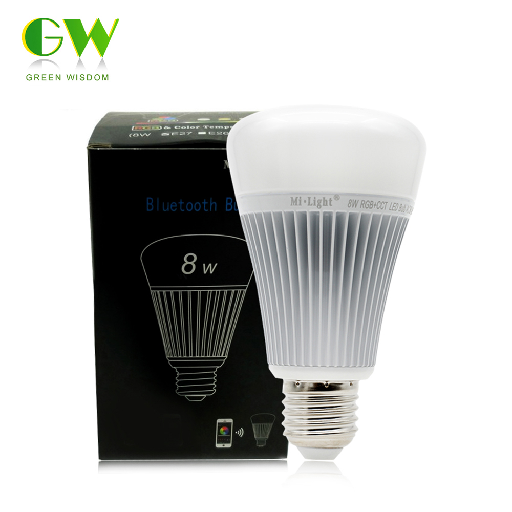 Mi.Light Bluetooth Bulb 4.0 8W E27 AC85-265V Full Color Smart LED Light with IOS Android APP Control. bluetooth led bulb e27 rgbw 6w bluetooth 4 0 smart led light bulb timer color changeable by ios android app dimmable ac85 265v