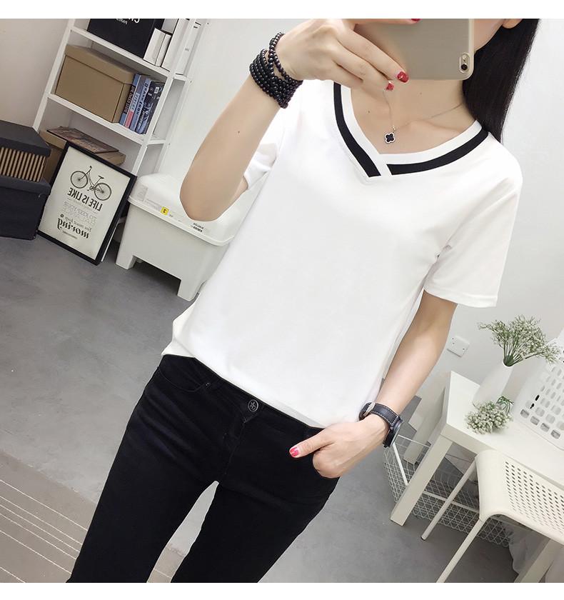 4XL 5XL Plus Size Korean Women's Clothing Fashion Big Size T-shirt Female V neck Short Sleeve Casual obesity Tee Shirt Top Femme 36