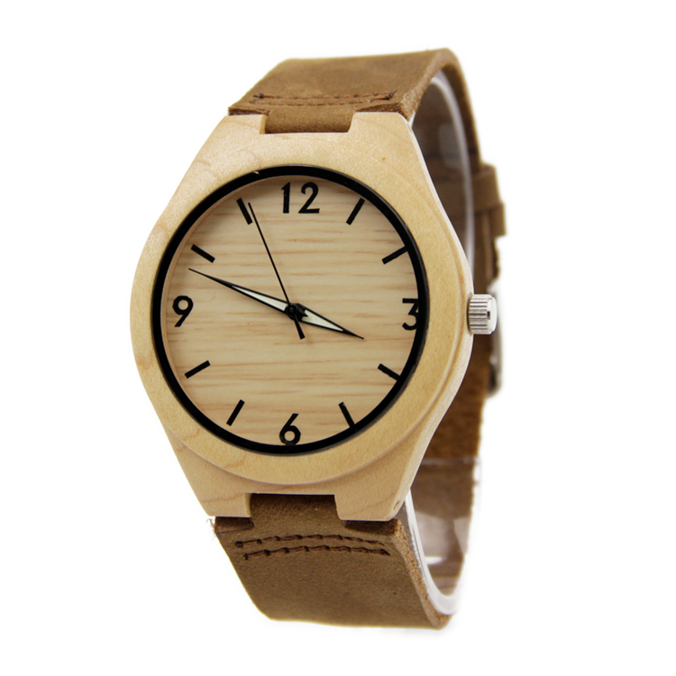 Women s 2016 New Fashion Bamboo Wooden Wristwatch With Genuine Cowhide Leather Band Lovers Wood Watches