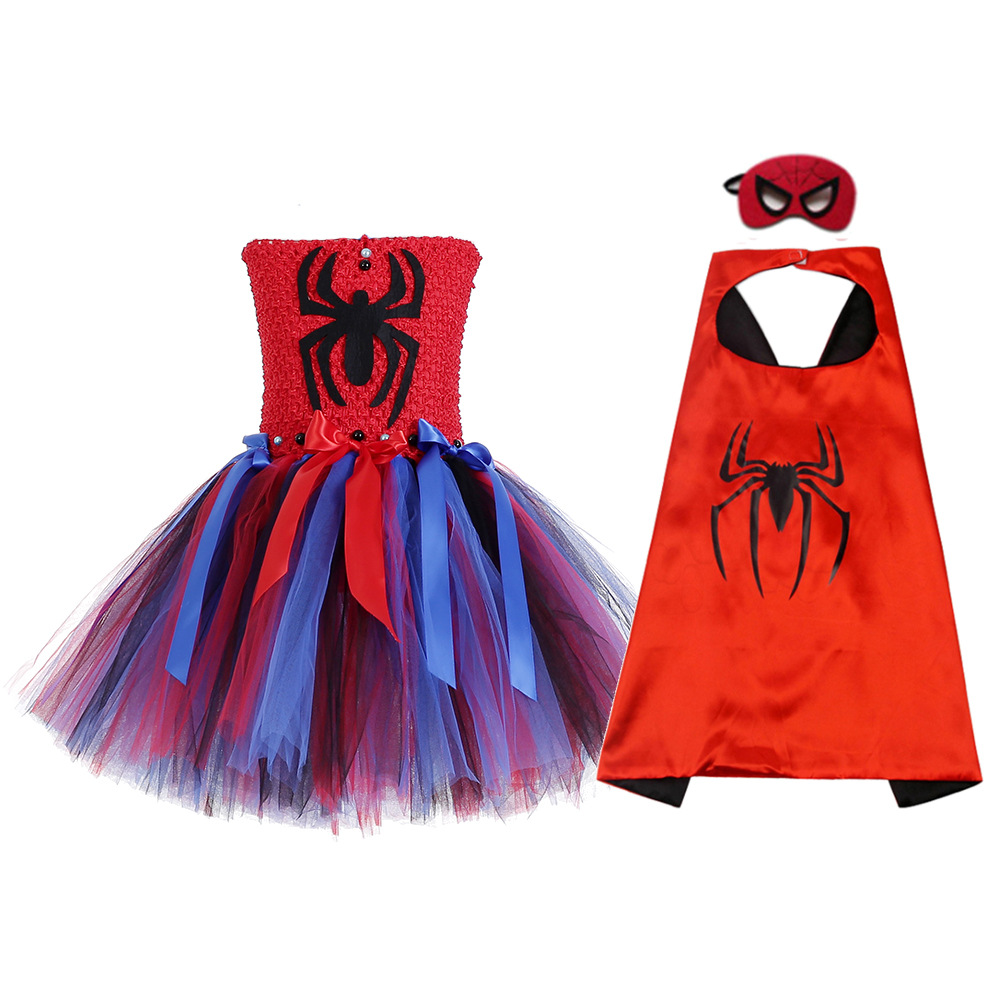 2019 Girls Summer Dress Spiderman Costume tutu Dresses with Cloak Mask for Kids 2-8Y Birthday Party Childrens Clothes 2019 Girls Summer Dress Spiderman Costume tutu Dresses with Cloak Mask for Kids 2-8Y Birthday Party Childrens Clothes