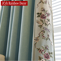 Luxury Home Flat Window European Embrodered Blackout Curtains For Living Room Bedroom Sheer Cloth Lace Fabric
