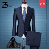 XMY3DWX (Jackets+Pants) Men's high end business BLAZERS two piece suit/male Pure cotton slim Fit Fashion jacket man coat