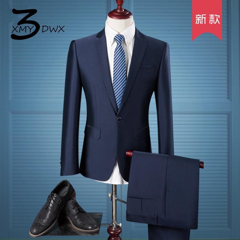 XMY3DWX (Veste + Pantalon) homme d'affaires haut de gamme BLAZERS costume deux pièces/mâle Pur coton slim Fit veste De Mode homme manteau