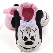 Newborn Comfortable Slippers Baby Shoes Toddler Cute Minnie Mickey Soft Sole Infant Crib Shoes Boy Girl First Walkers Size 3 4 5(China)