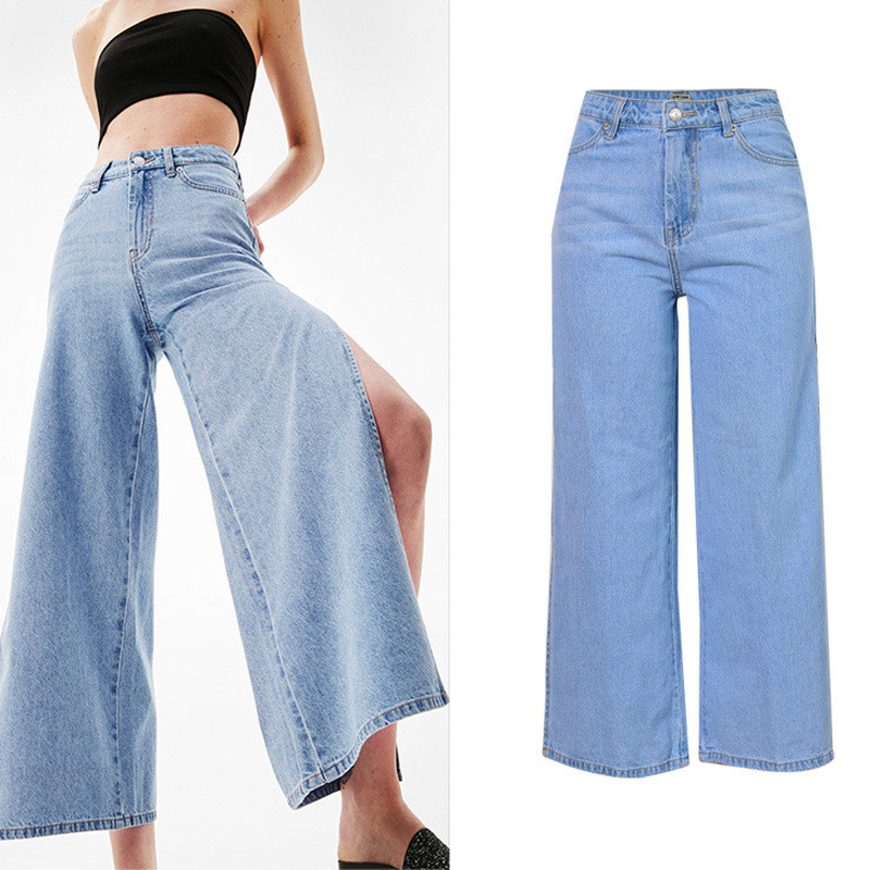 Women Wide Leg Pants High Waist Mens Jeans Loose Side Open Designer Summer Pants For Women Clothing Jeans Trousers Women S446