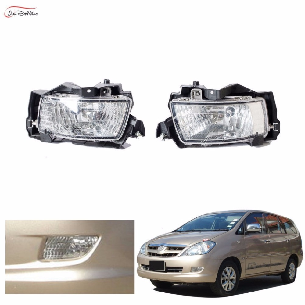 JanDeNing Car Fog Lights for TOYOTA INNOVA 2004~2008 Clear Halogen bulb 9006-12V 55W Front Fog Lights Bumper Lamps Kit car styling fog lights for toyota camry 2012 2014 pair of 12v 55w front fog lights bumper lamps daytime running lights