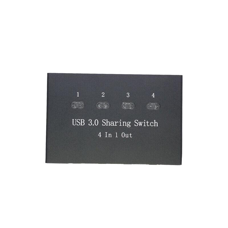 Купить с кэшбэком USB 3.0 Manuelle Sharing Switch  Adapter Switcher Iron Box four Computer Teilen 1 USB Gert Hub Drucker Scanner with cables