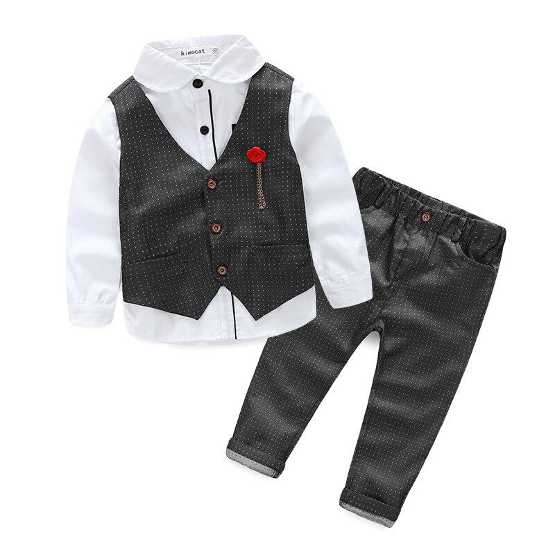 2016 Boys Clothing Sets Autumn Spring Shirt + Vest + Pants Boys Wedding Clothes Kids Gentleman Leisure Handsome Suit Free Ship