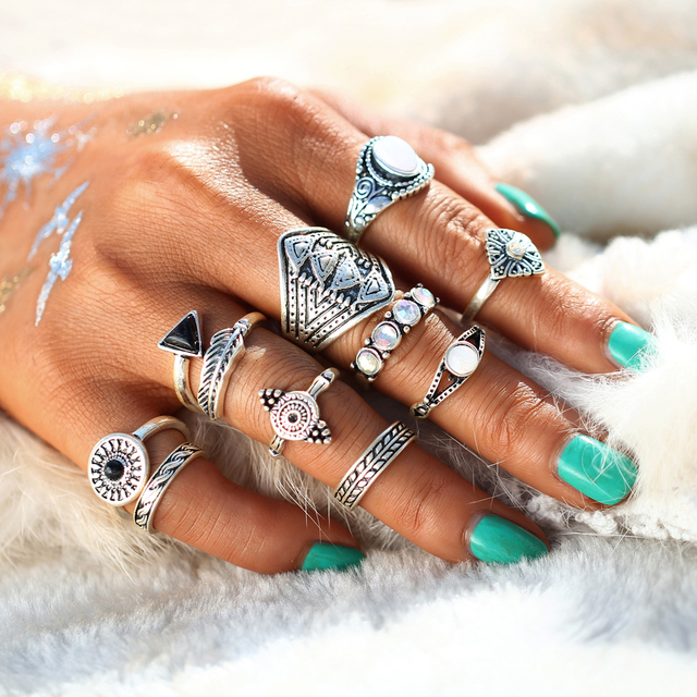 10pc  Antique Silver Color Rings
